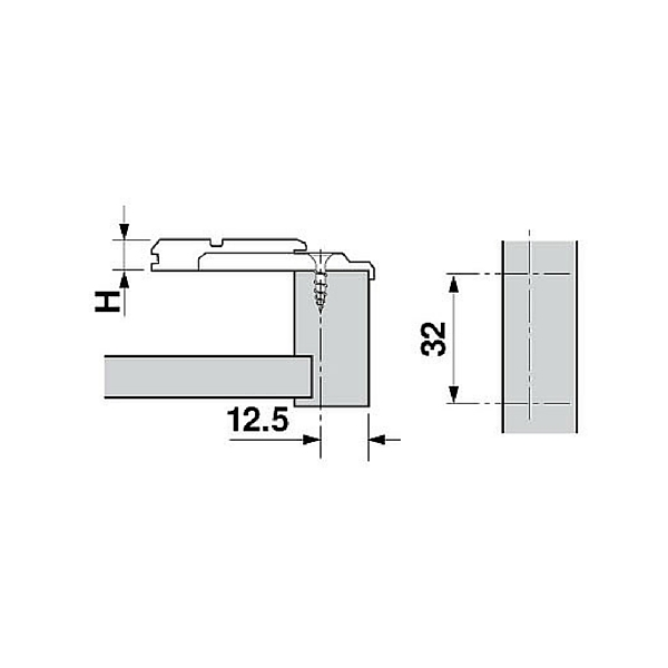 Blum 175l6600 22 0mm Off Center Face Frame Adapter Plate
