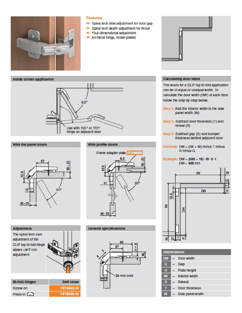 Blum 79t8530 10 Clip Top Bi Fold 60 176 Hinge W Dowels