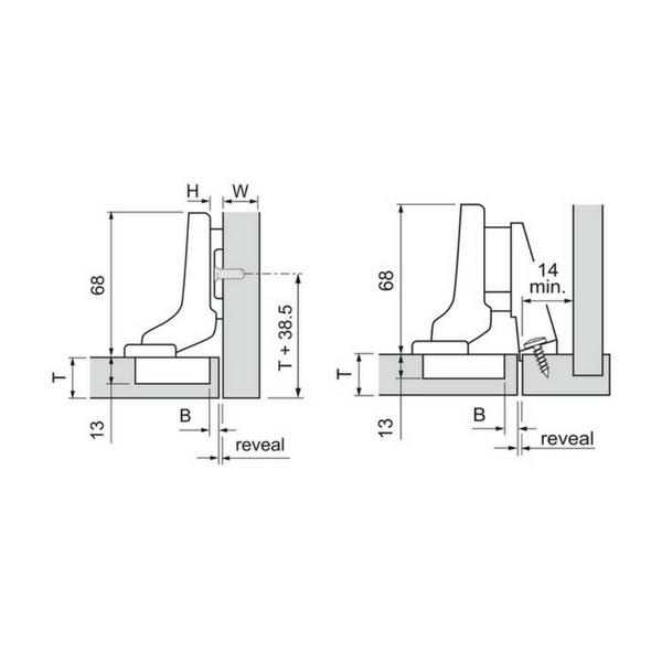 Feder Blum CLIP top Standardscharnier 110° Innenan Anschrauben 70T3750.TL o