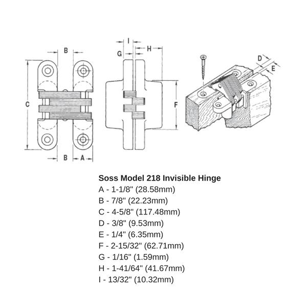 SOSS 218US26D Model 218 Invisible Hinge – Satin Chrome | Siggia Hardware