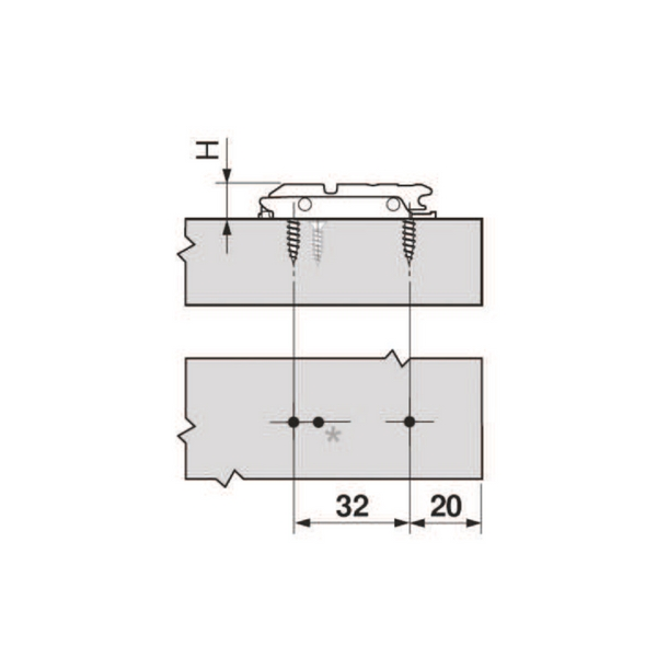 Blum 175h3100 0mm Inline Mounting Plate Siggia Hardware