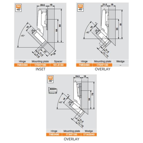 Blum 79b3490 Clip Top Blumotion 45 176 Inserta Hinge Siggia Hardware