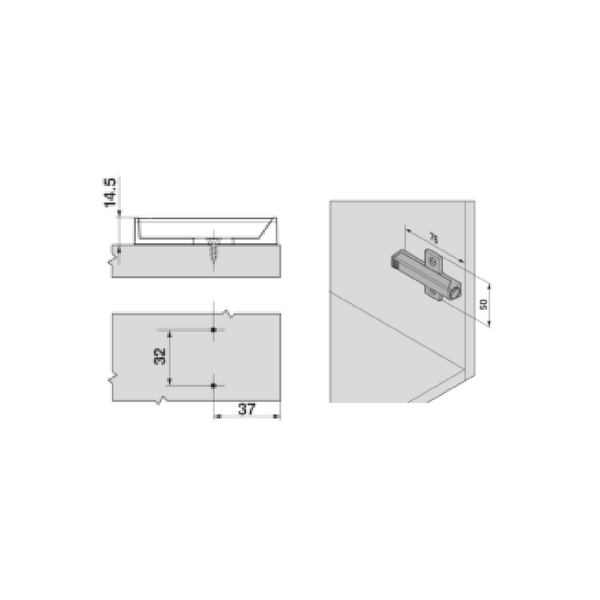 Blum 956a1501 Tip On Wing Adapter Plate For Large Doors